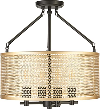 Gianna Chandelier Hanging Light Black W Antique Brass Pendant Light With Led Bulbs Ll Cl806 7sbk Amazon Com