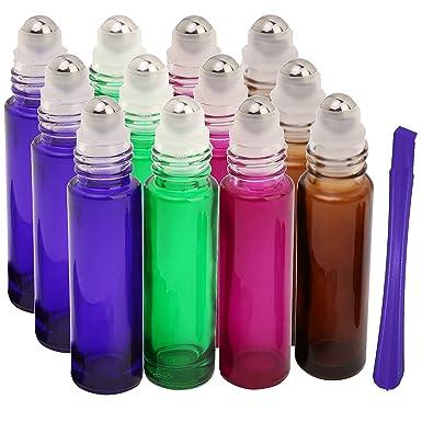 12pcs, 10 ml vidrio botellas (con Roller - Aceite Esencial rollo en botellas recargables con abridor de tapa de acero inoxidable herramienta de palanca, ...
