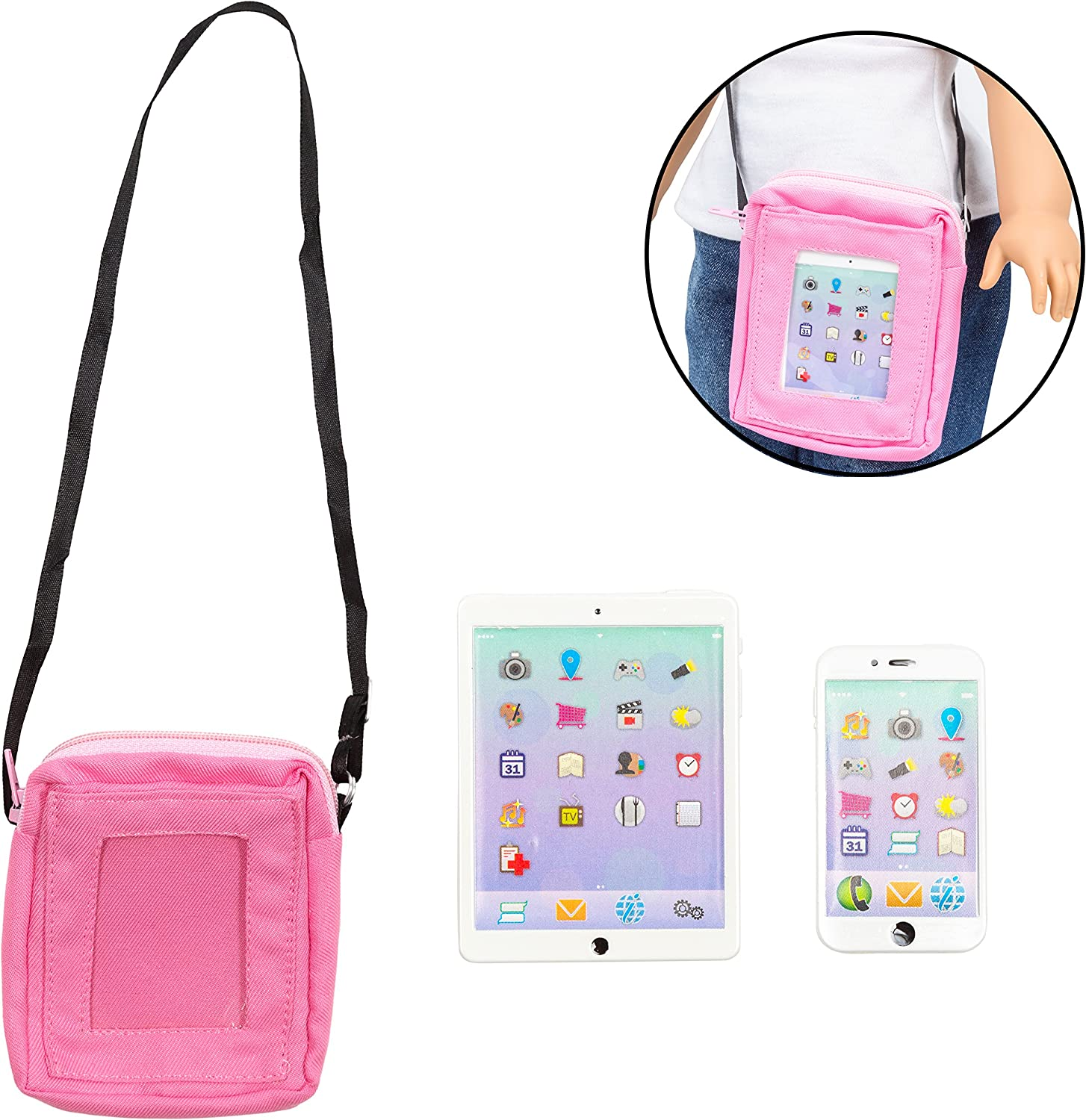 "Dress Along Dolly 3pc Cell Phone, Computer Tablet, and Laptop Accessory Bag Set for American Girl & 18"" Dolls - Durable Metal Construction"