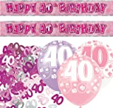 Unique BPWFA-4178 Glitz 40th Birthday Foil Banner Party Decoration Kit, Pink