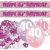 Unique Kit de décoration pour fête d'anniversaire 40 ans Rose/argenté