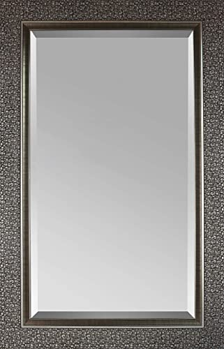 Mirrorize IMM101 Antique Mosaic Framed Beveled Designer Wall 27 W X 43 H Vanity, Powder Room, Bathroom, Bedroom Rectangle Large Accent Mirror, 1.5DX27HX43W, Dark Silver