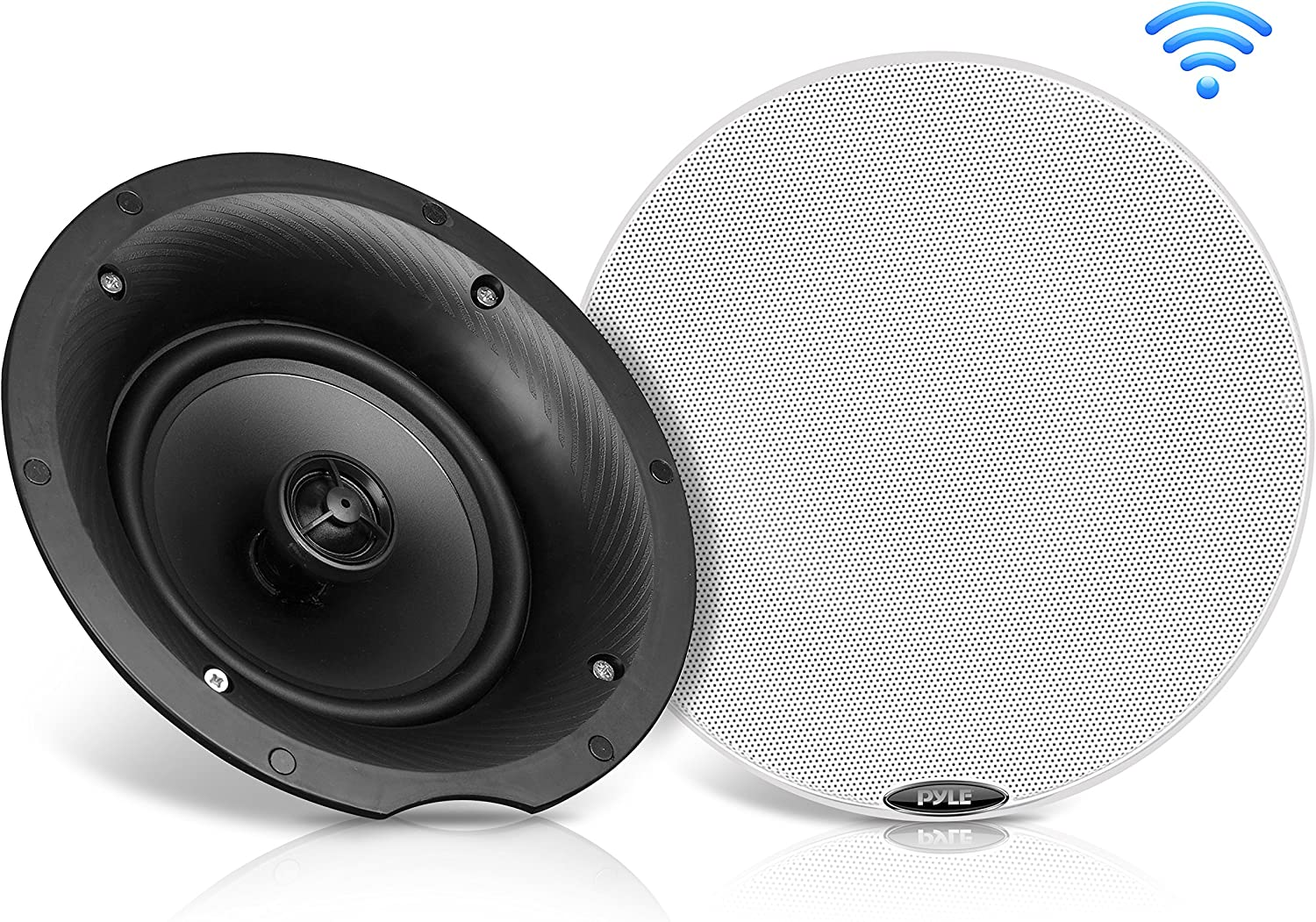"Pyle Pair 8.0"" Bluetooth Universal Flush Mount in-Wall in-Ceiling 2-Way Speaker System Dual Polypropylene Cone & Polymer Tweeter Stereo Sound 400 Watts (PDICBT87)"