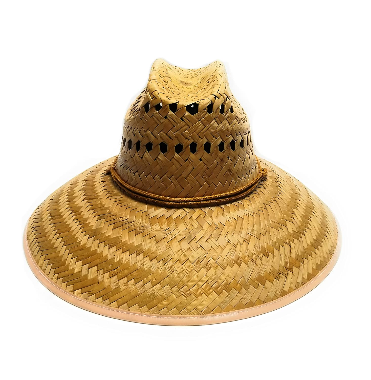 J.J. Mexican Palm Leaf Straw Super Wide Brim Lifeguard Hat with Chin Strap 18efa4c2bef