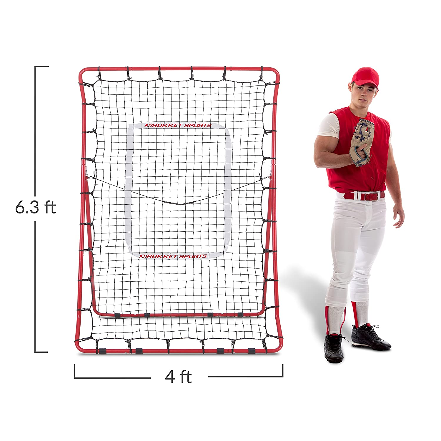 Pitching and Throwing Practice Partner Rukket Pitch Back Baseball//Softball Rebounder PRO Adjustable Angle Pitchback Trainer
