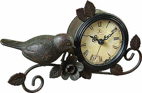 Amazon Com Creative Co Op Shabby Cottage Chic Metal Bird Desk Clock Home Decor Home Kitchen