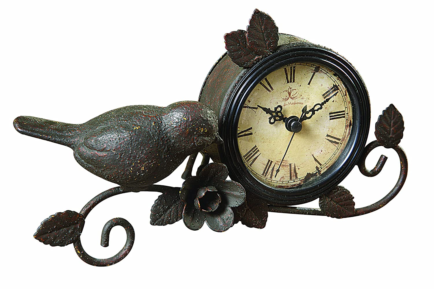 Amazon Com Creative Co Op Shabby Cottage Chic Metal Bird Desk Clock Home Decor Home Kitchen