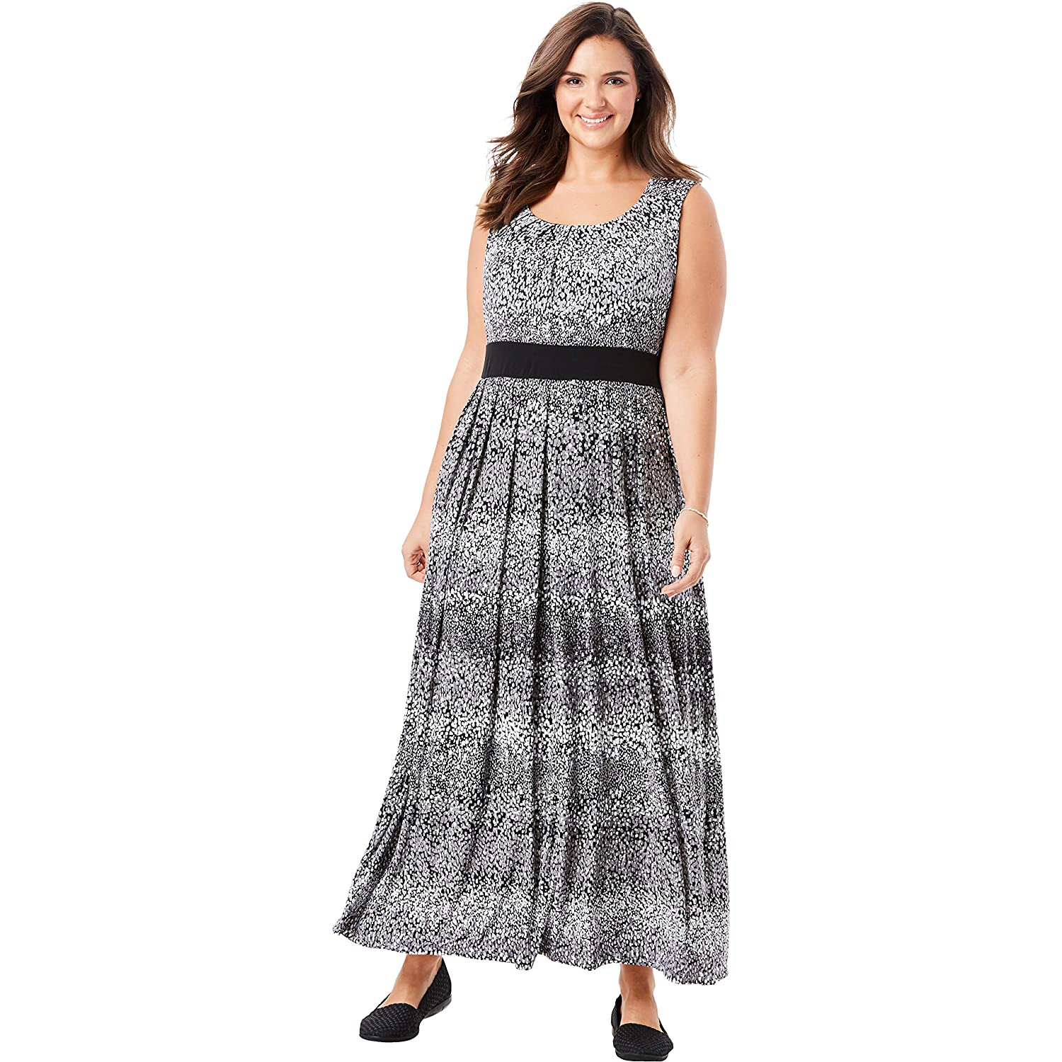 Woman Within Women\'s Plus Size Banded Waist Print Maxi Dress at ...
