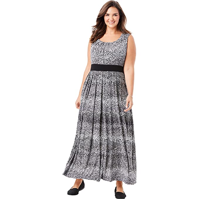 Woman Within Women\'s Plus Size Banded Waist Print Maxi Dress