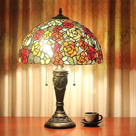 Lámpara De Mesa Pastoral Europea De Las Rosas Rojas Creativas ...