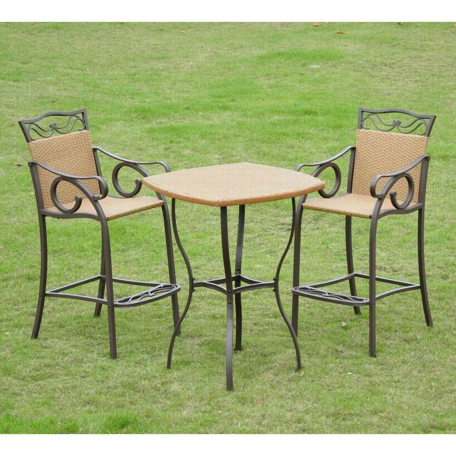 Amazon Outdoor Wicker Bar Height Bistro Set Outdoor And