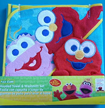 Amazon.com : Sesame Street Hooded Towel and Washmitt Set : Hooded Baby Bath Towels : Baby