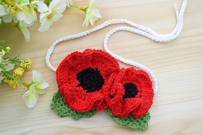 Mohn Blumen Armband Rot Häkeln Amazonde Handmade