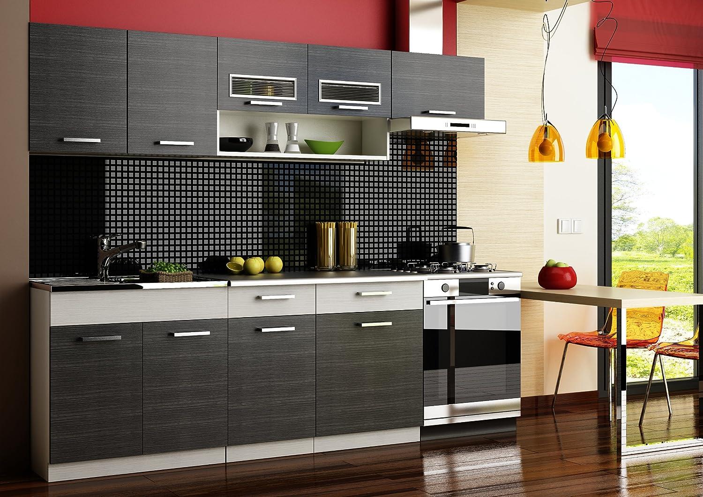 Komplett Küche 240cm Schränke, Küchenzeilen MORENO SCHWARZ - GRAU ...