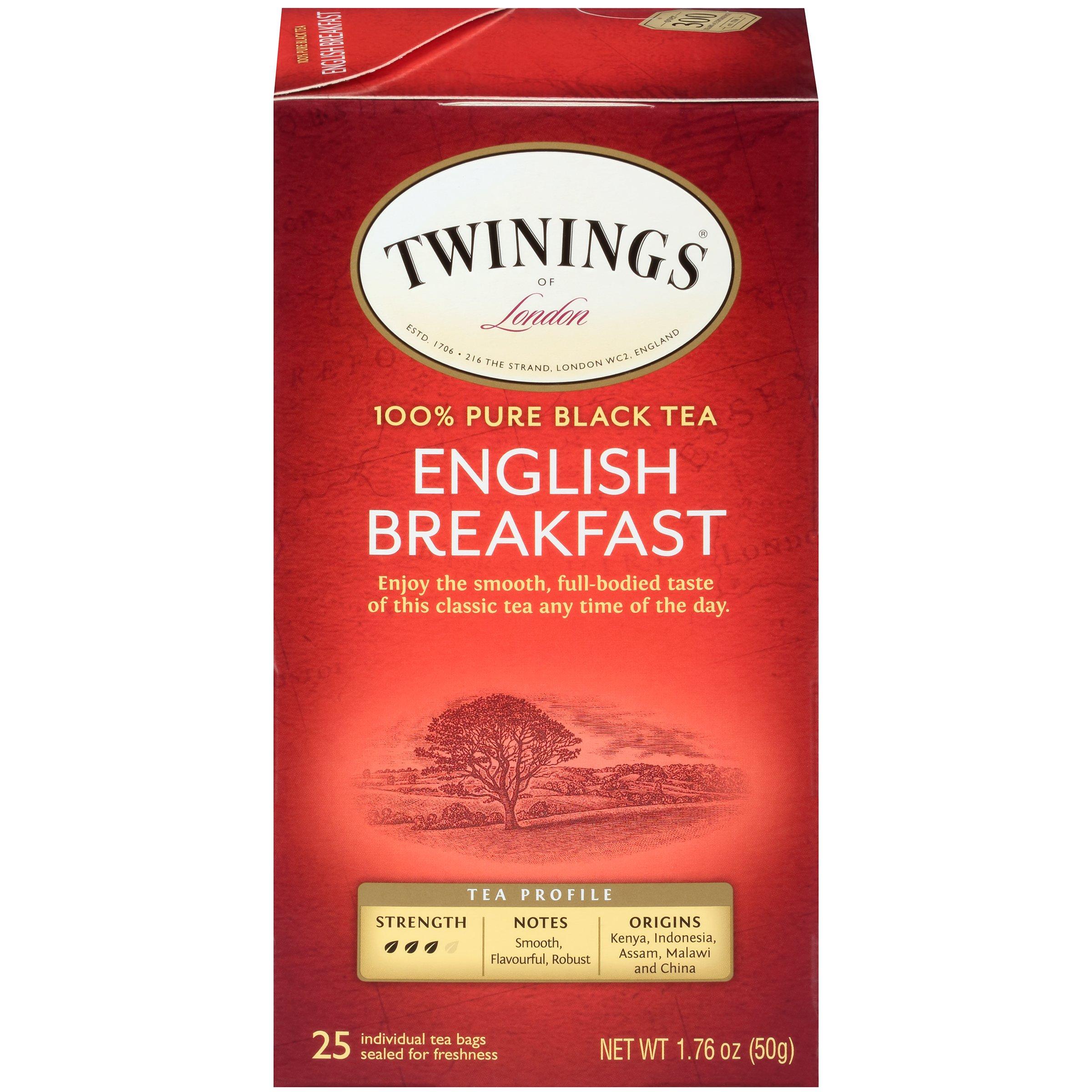 Twinings of London English Breakfast Black Tea Bags, 25 Count (Pack of 6)