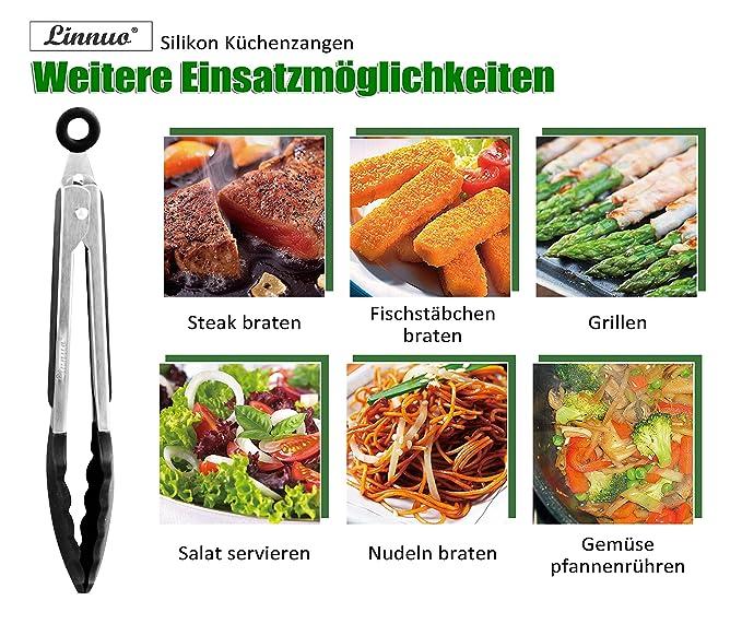 linnuo® cocina Pinzas para ensalada multiusos Alicate, Juego de 2 pinzas de acero inoxidable de alta calidad y resistente al calor silicona, ...
