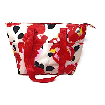 15 In Long Large Reusable Zippered Top Insulated Lunch Bag (White Red Garden Poppy)