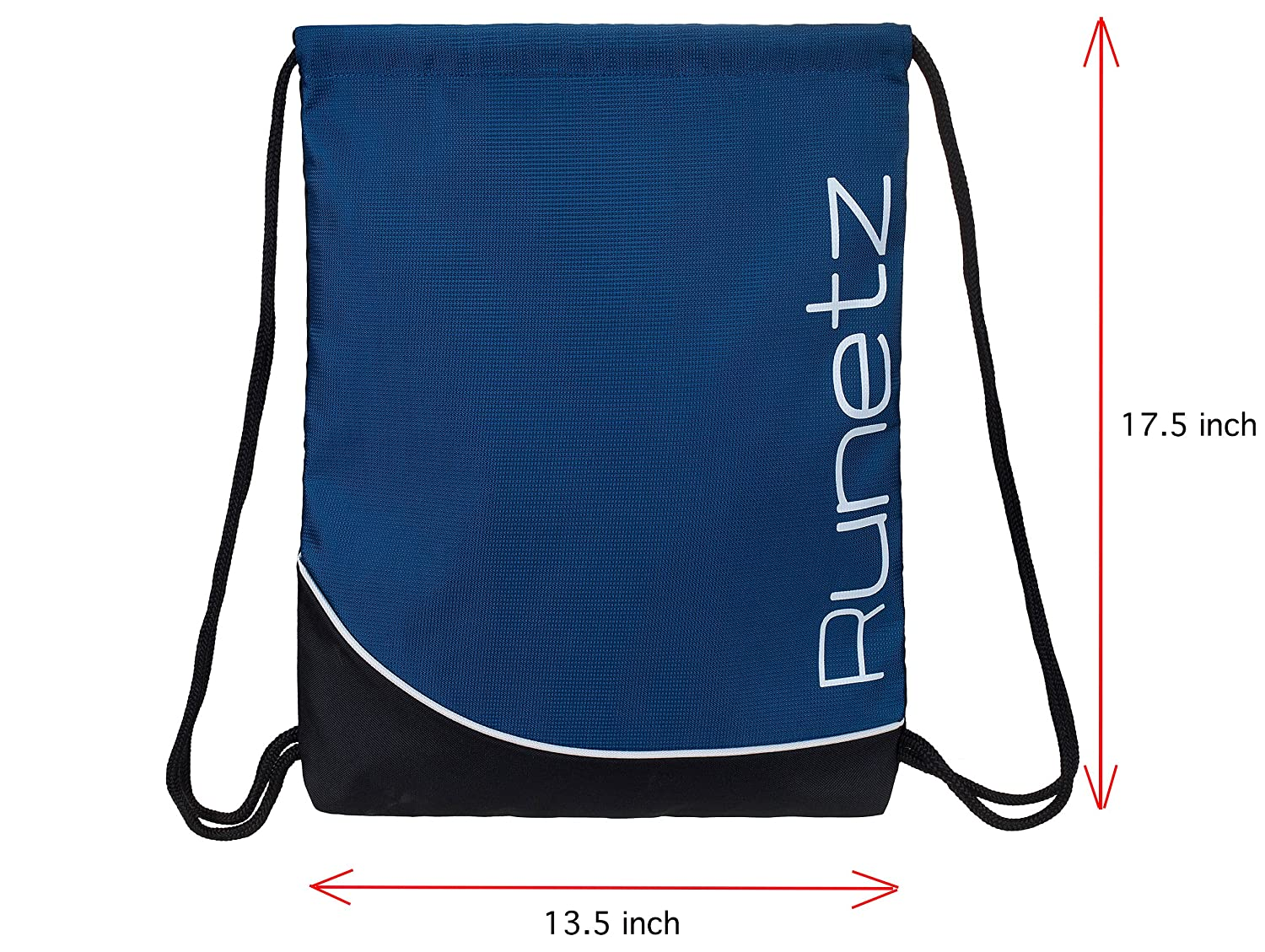Runetz size 17.5 x 13.5 inch Books size 17.5 x 13.5 inch School Black Sackpack for Women and Men Drawstring Gym Bag Books Travel Polyester Gym Sack String Backpack with Inside Pocket for Sport Workout