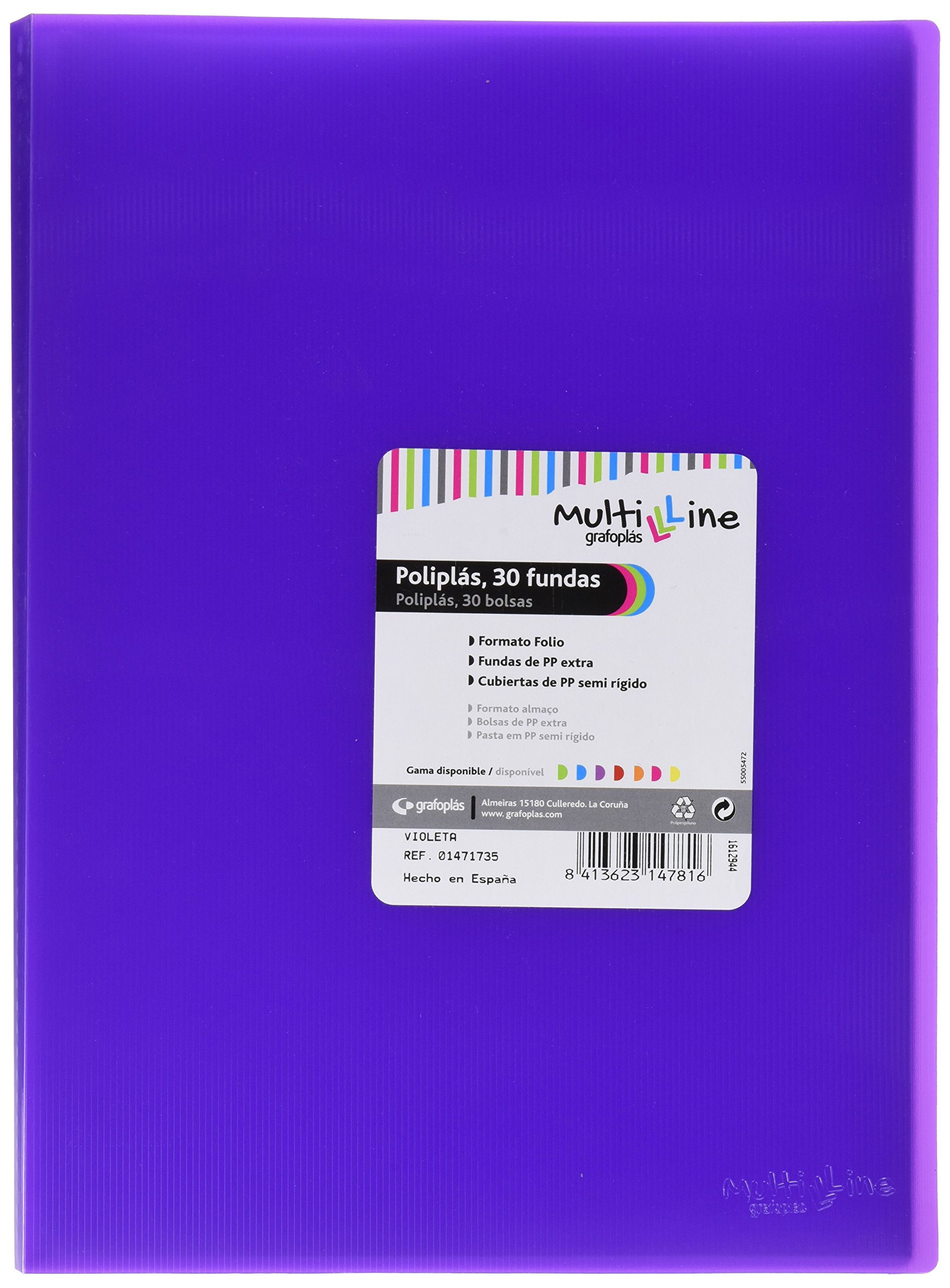 grafoplas 1471735Folder with 30Sleeves, Foolscap, Tapas PP, Purple