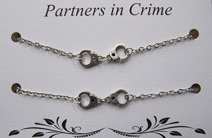 Amazon Com Double Partners In Crime Bracelet With Handcuff Charms