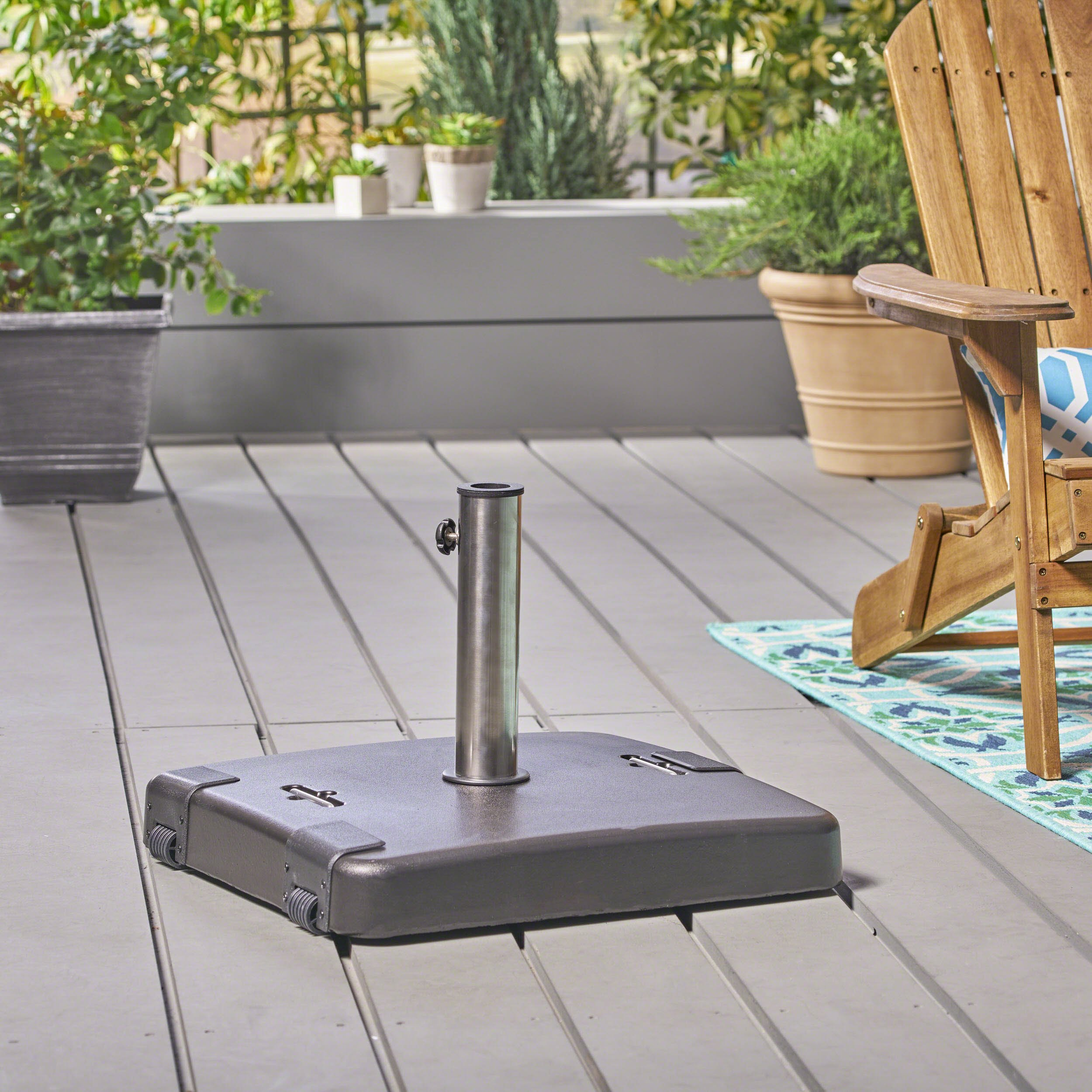 Great Deal Furniture Larissa Outdoor 119lb Concrete Square Umbrella Base with Stainless Steel Collar, Black