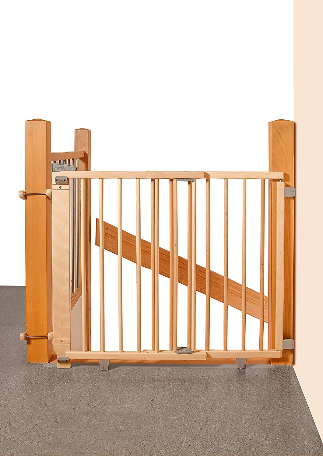 Geuther 2735 NA - Barrera de seguridad con bisagra para puertas, color natural 2735-NA