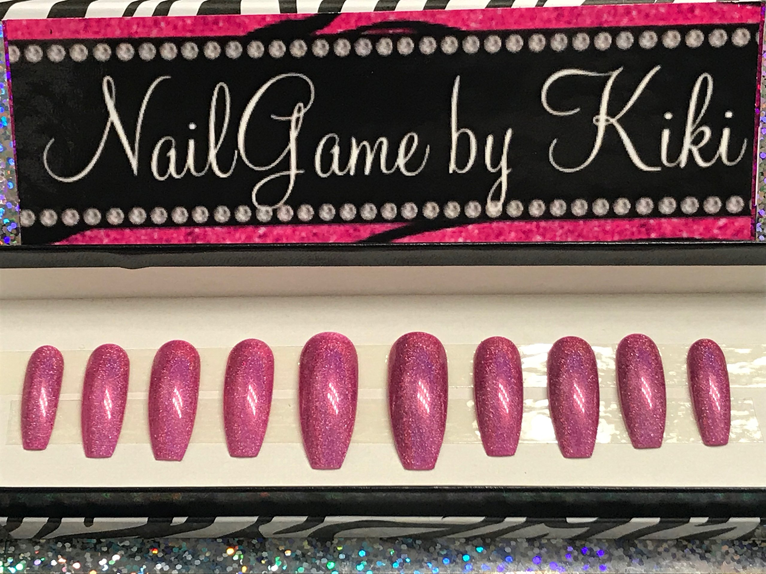 Holo Pink Hand Designed Press On Nails