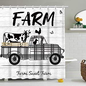 Stacy Fay Farm Rustic Shower Curtain, Cattle Truck Fabric Bathroom Curtains Set with Hooks Vintage Western Farmhouse Animals Cow Bathroom Decor 72x72 Inches Machine Washable
