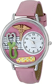 Whimsical Watches Womens U0620031 Unisex Silver Nurse 2 Pink Leather And Silvertone Watch