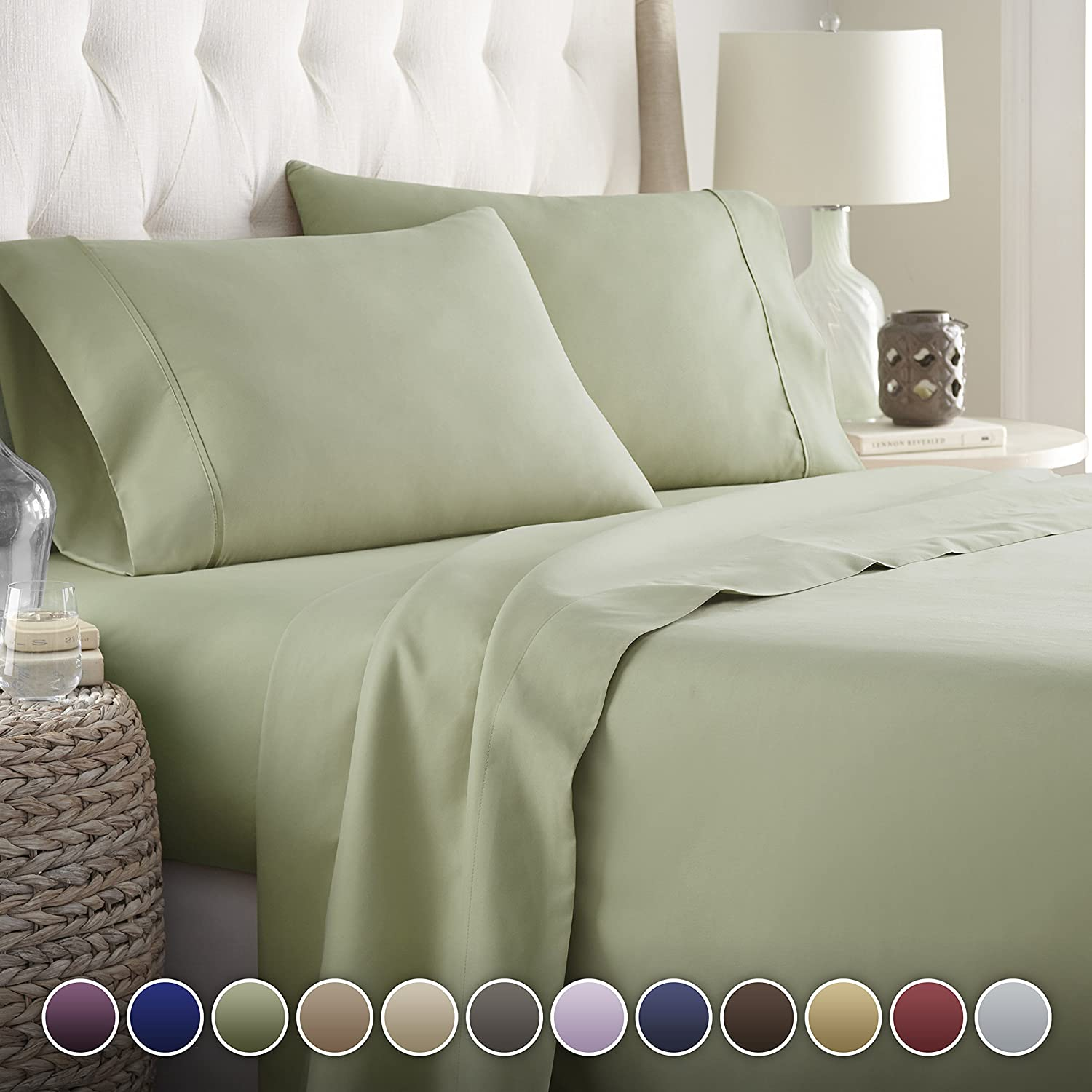 Hotel Luxury Bed Sheets Set-- 1800 Series Platinum Collection-Deep Pocket, Wrinkle & Fade Resistant(King,Sage)