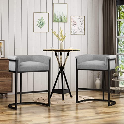 Christopher Knight Home 306280 Best Modern Wide Bucket Upholstered Barstool, Gray and Black Set of 2 , 28.00 x 21.50 x 34.25