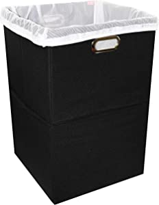 Foldable Large Laundry Hamper With Laundry Bag - Premium Durable Non-Woven Fabric, Anti-Mold Plastic Board, Extra-Large Size, Space-Saving & Compact Clothes Basket With Metal Handles (Black)