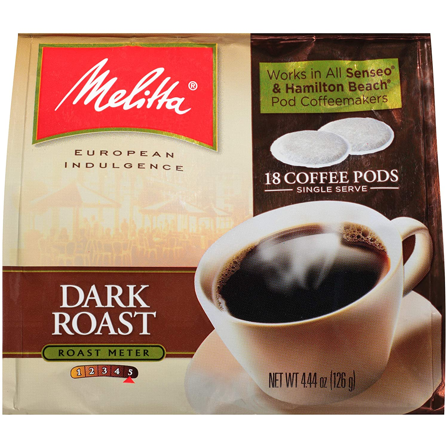 Melitta Single Cup Coffee Pods for Senseo & Hamilton Beach Brewers, Dark Roast Coffee, 18 Count (Pack of 6)