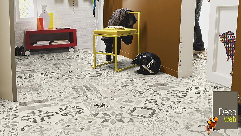 Sol PVC Lino Imitation Carreaux de ciment noir 3 x 7m
