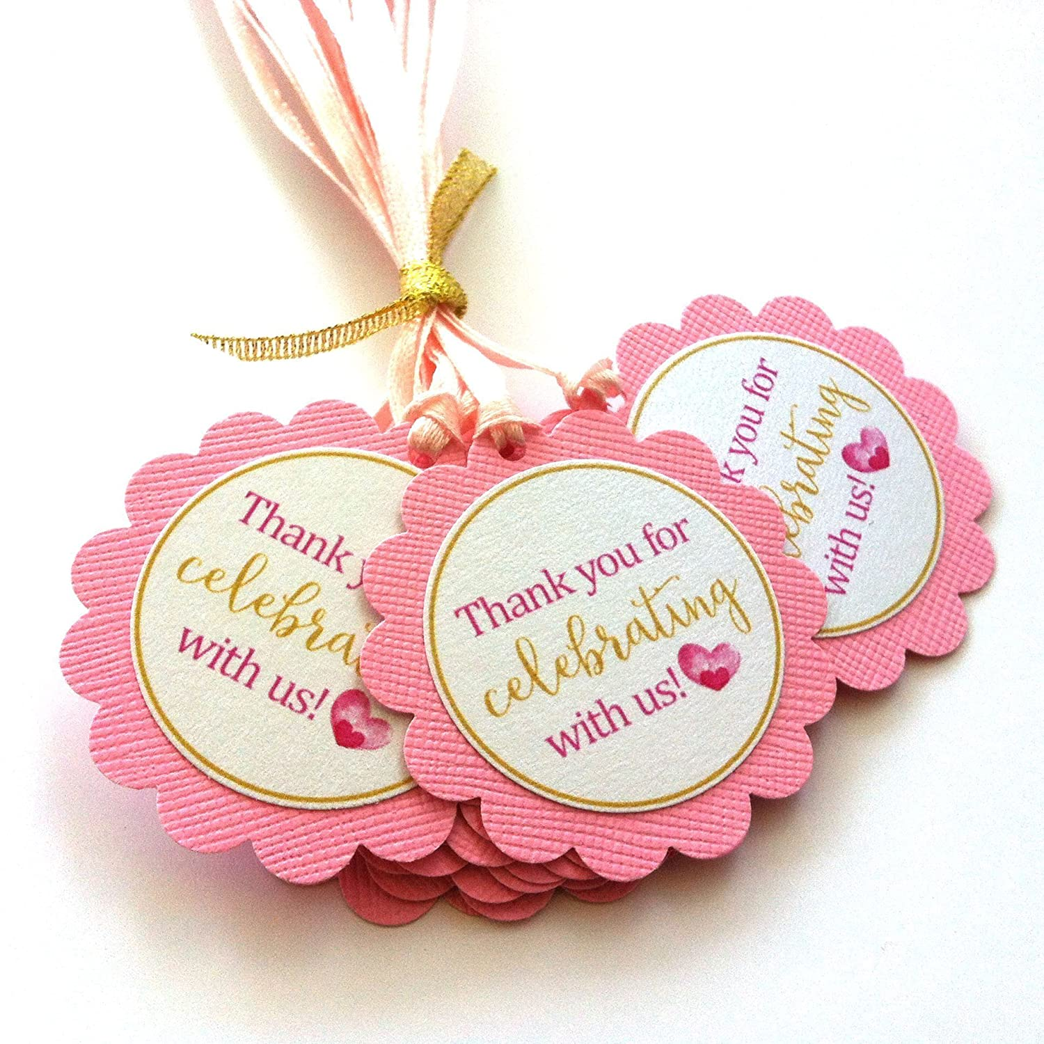 Amazon.com: Pink Golden Thank You for Celebrating with Us Favor Tags ...