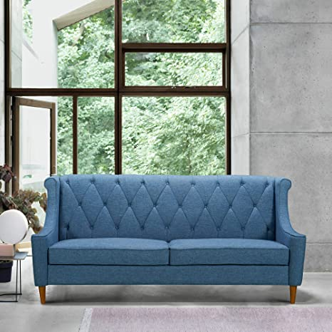 Admirable Amazon Com Armen Living Luxe Sofa Blue Kitchen Dining Gmtry Best Dining Table And Chair Ideas Images Gmtryco