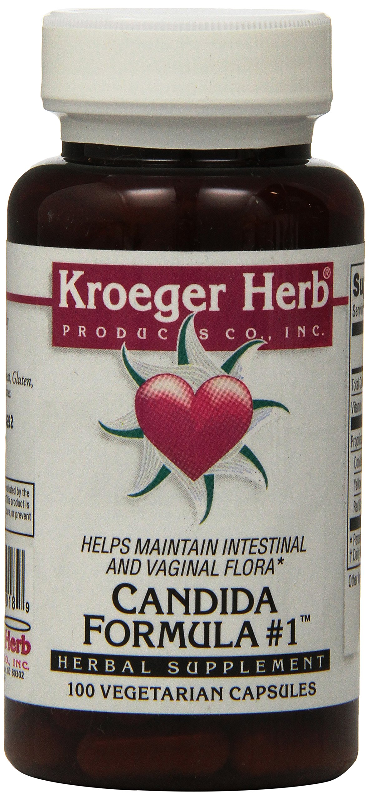 Kroeger Herb Candida Formula No 1 Capsules, 100 Count by Kroeger Herb Products