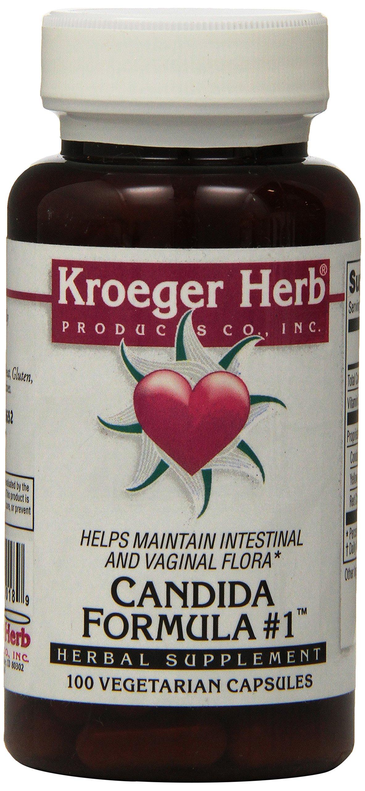 Kroeger Herb Candida Formula No 1 Capsules, 100 Count
