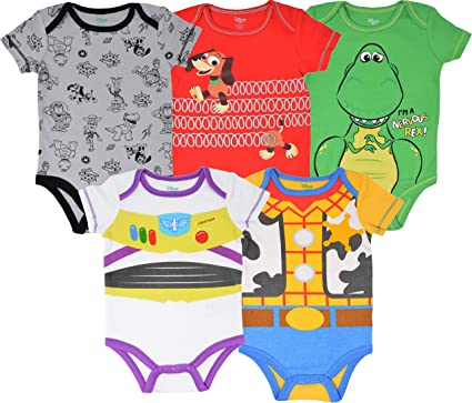 4766113c4 Disney Pixar Toy Story Baby Boy 5 Pack Bodysuit Buzz Lightyear Woody Rex  Slinky Dog 0