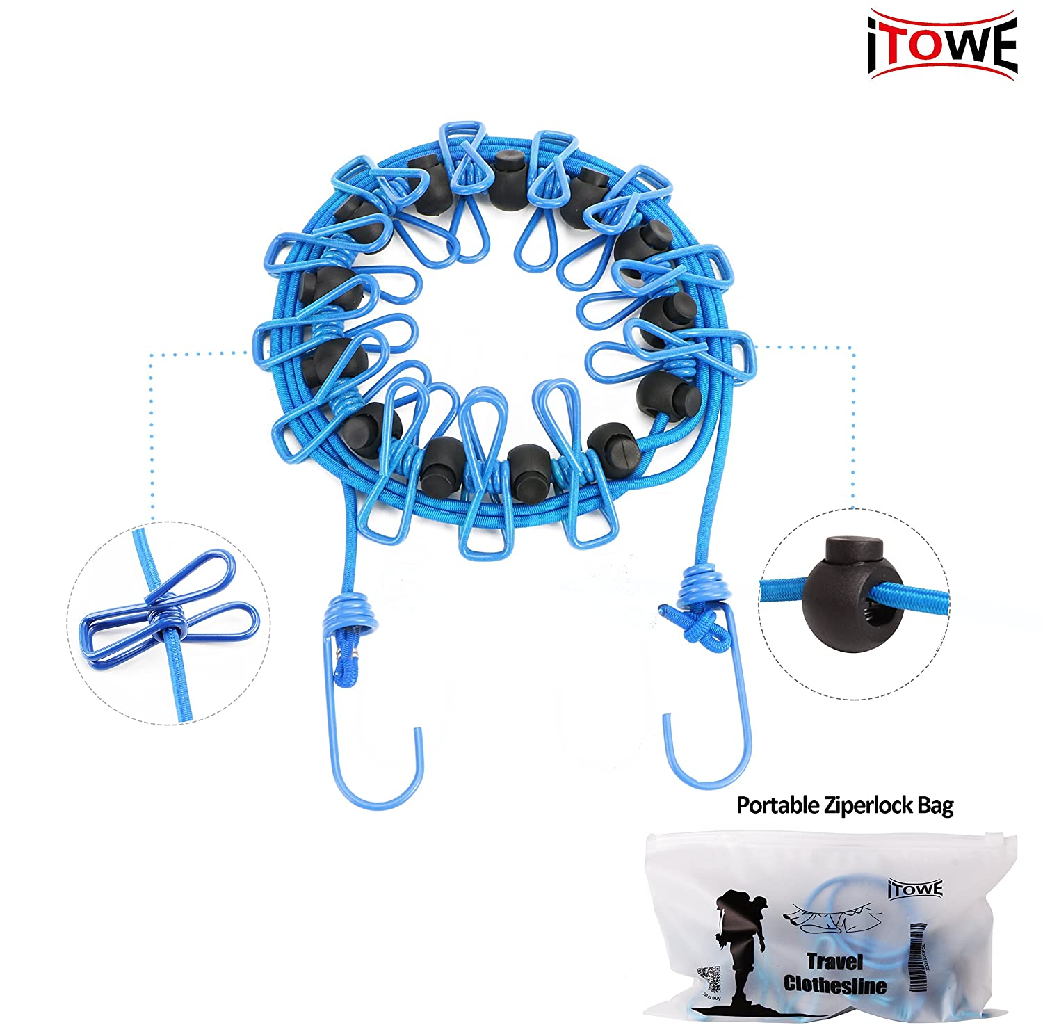 amazon com itowe travel elastic clothesline camping clothes lines