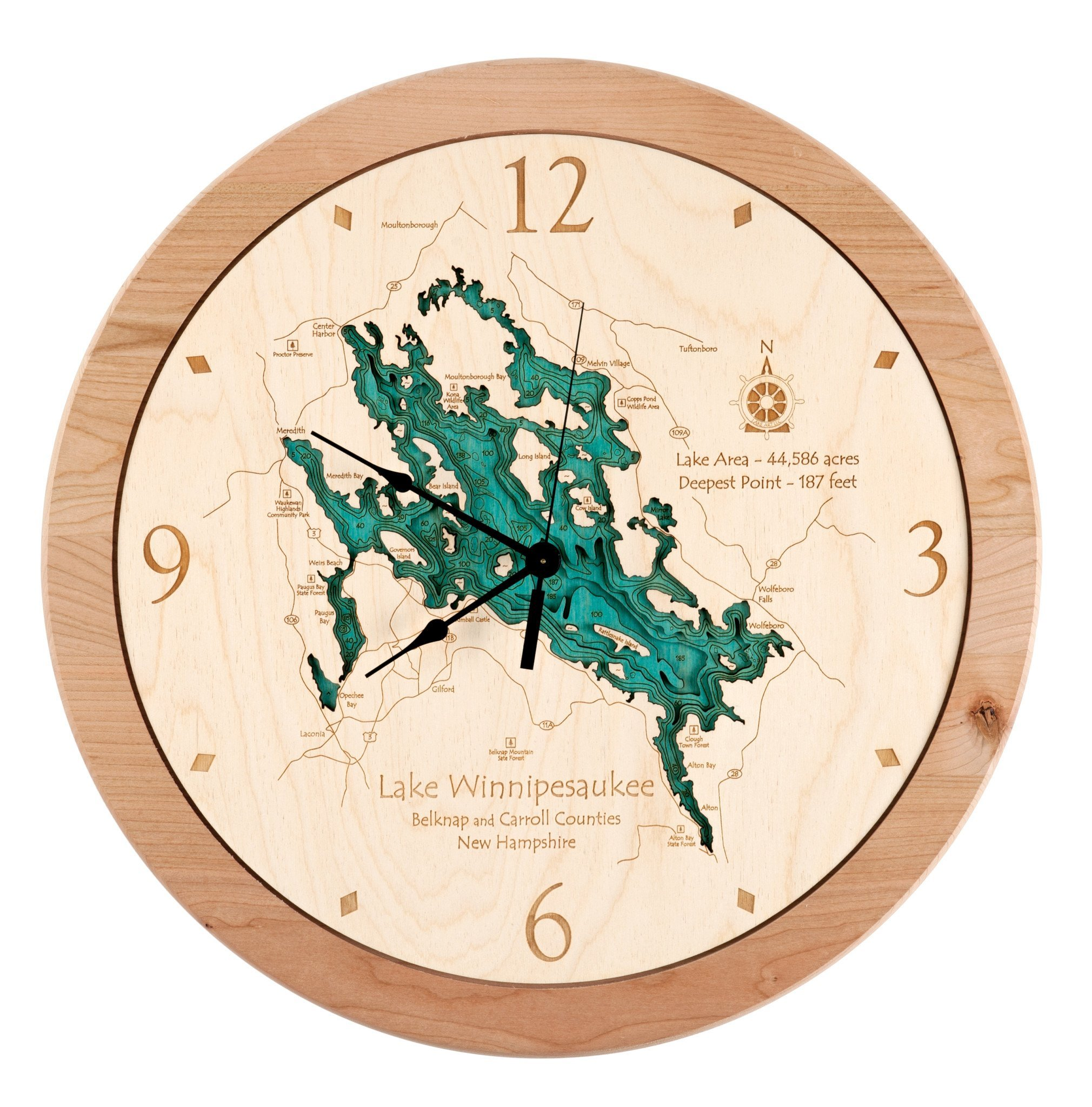 Lake Beshear in Caldwell Christian, KY - 3D Clock 17.5 IN - Laser carved wood nautical chart and topographic depth map. by Long Lake Lifestyle