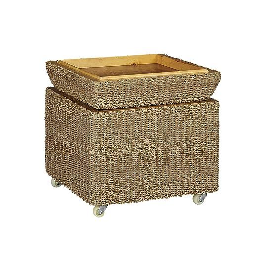 amazoncom household essentials rolling seagrass wicker storage seat kitchen u0026 dining