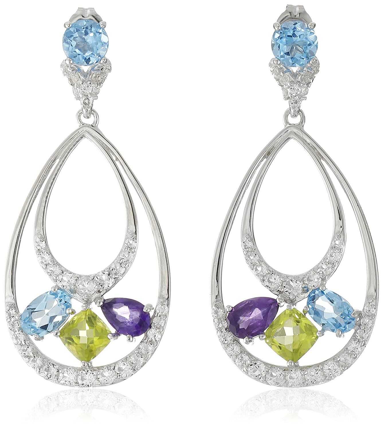 Sterling Silver Multi-Gemstone Tear Drop Earrings