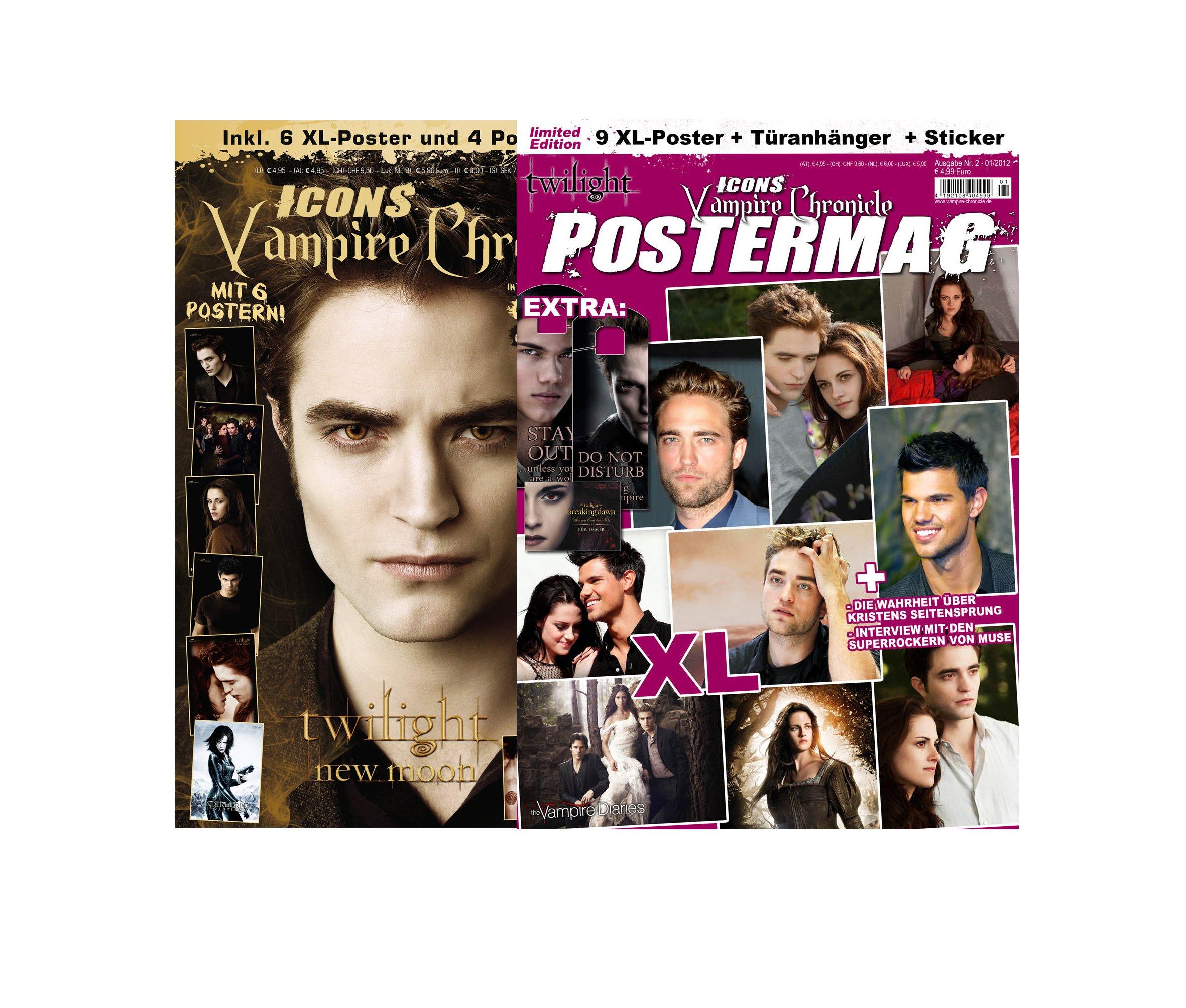 Icons Vampire Chronicle, limitiertes Bundle (2 Ausgaben): Postermag 2 + Twilight: New Moon inkl. 15 XL-Poster von Twilight, Robert Pattinson u.v.m. + 15 XL-Poster, Sticker, Türanhänger Broschiert – 31. August 2012 Thomas Vogel Media e. K. Türanhänger 39425