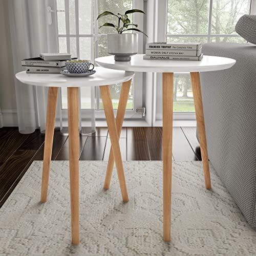 Home Decor Accent Table with Circular Top White, Set of 2