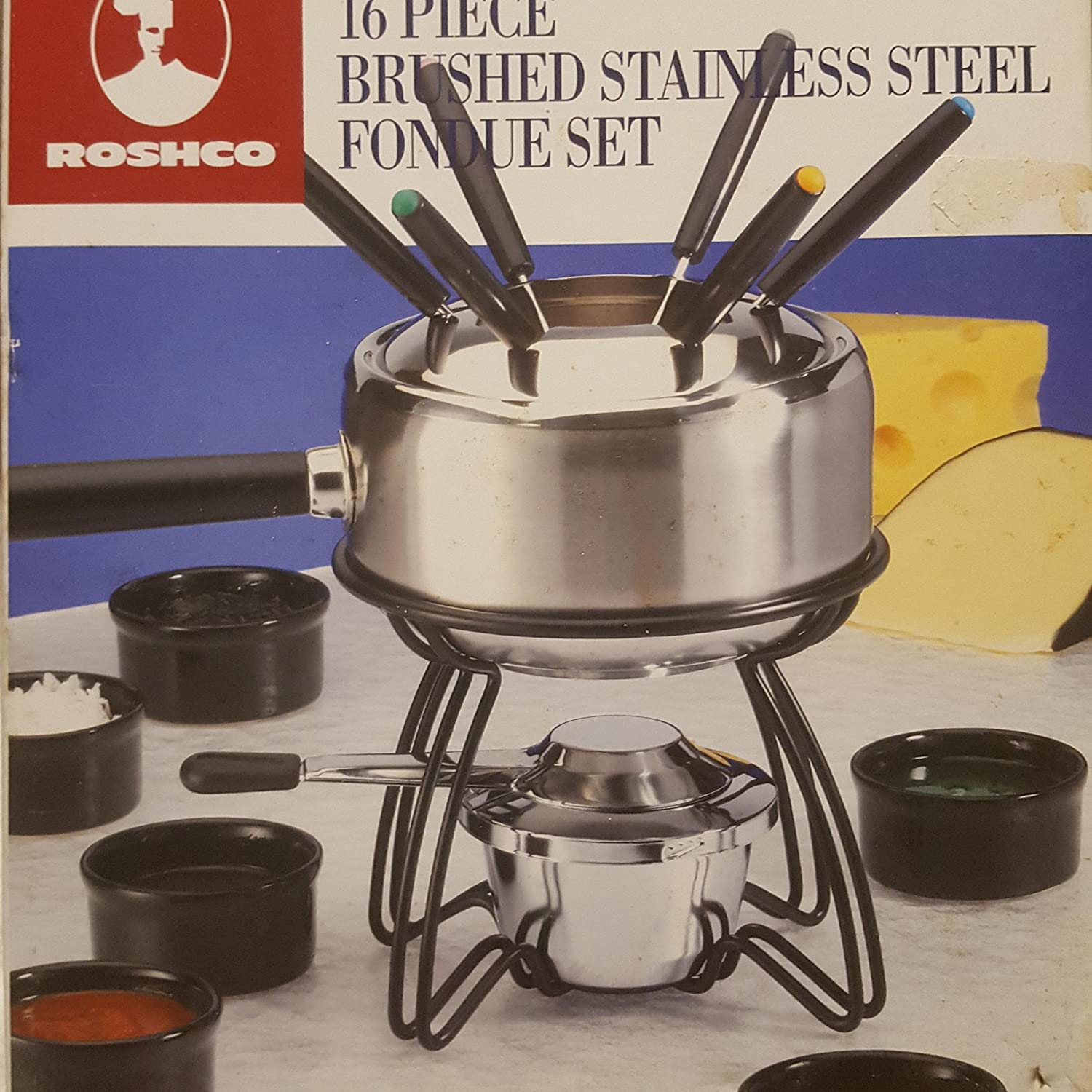16 Piece Brushed Stainless Steel Fondue Set By Roshco ROSCHCO