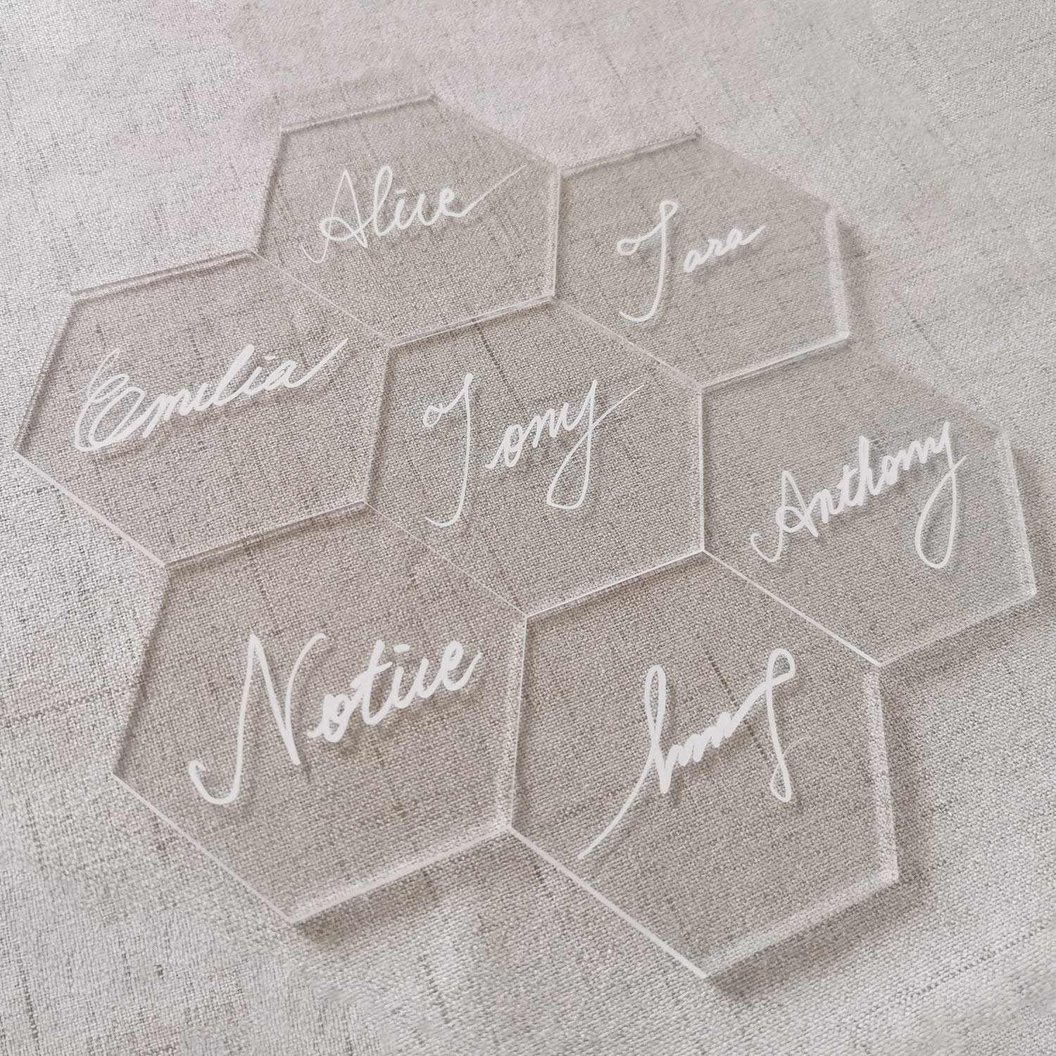 JINMURY Clear Acrylic Place Cards for Weddings or Parties- 25pcs DIY Blank Table Seating, Hexagon Shape Name Cards- Perfect for Modern Wedding, Bridal Shower, Banquet Events by JINMURY