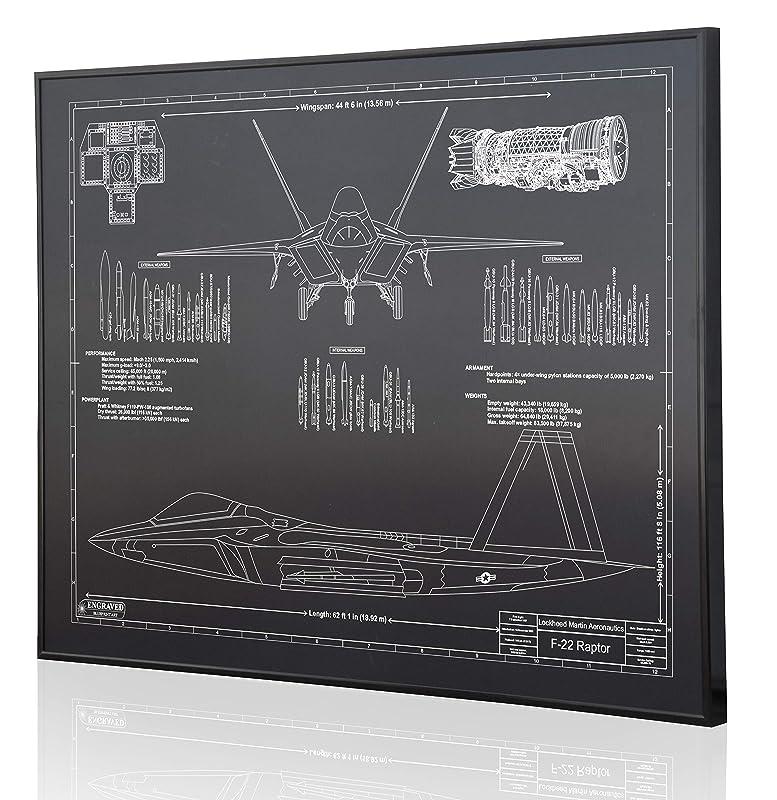 Amazon Com Lockheed F 22 Raptor Blueprint Artwork Laser Marked Personalized The Perfect Pilot Gifts Handmade