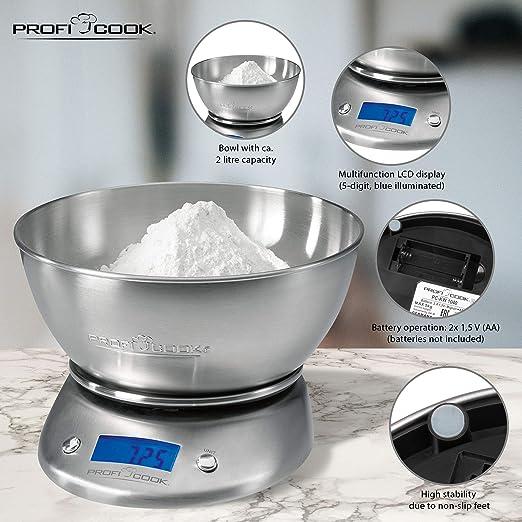 ProfiCook KW1040 Báscula de cocina digital con tazón, 5 kg pasos 1 g, función tara, 2 litros, Acero Inoxidable, Gris
