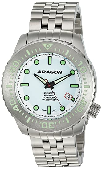 Amazon.com: ARAGON A264WHT Divemaster EVO 45mm Automatic: Wing Liang: Watches